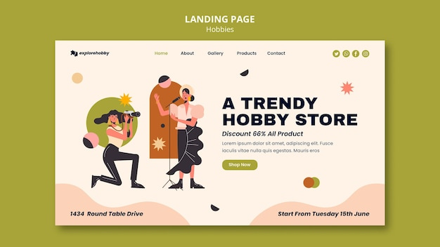 Landing page template for hobbies and passions