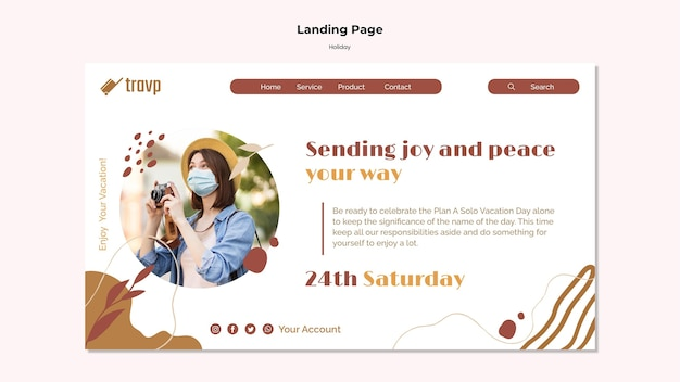 Landing page template for holiday travel with person wearing medical mask