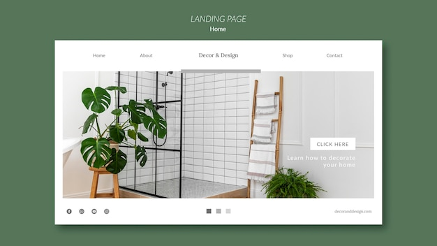 Landing page template for home decor and design