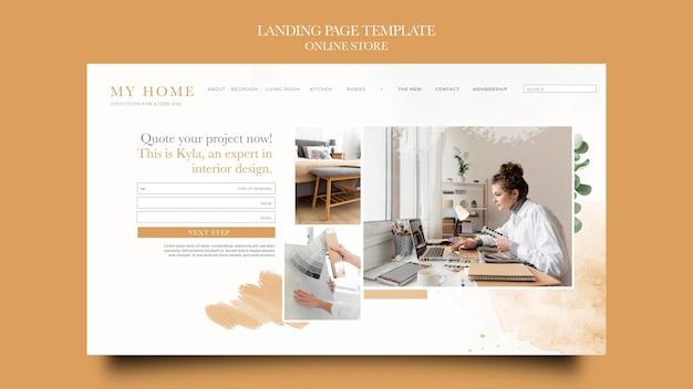 Modello di pagina di destinazione per il negozio online di mobili per la casa