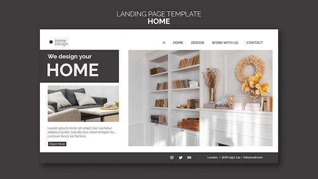 Landing page template for home interior design with furniture