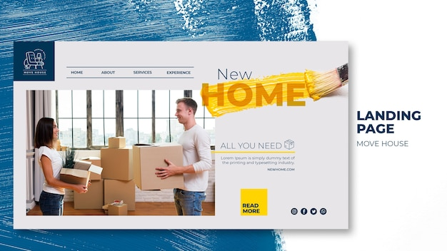 Landing page template for home relocation services