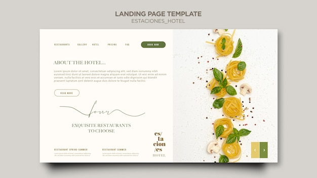 Landing page template for hotel business