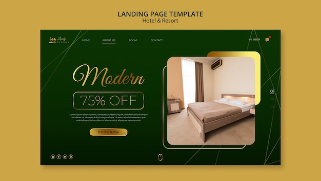 Landing page template for hotel and resort