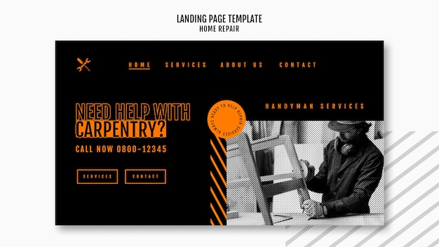 Landing page template for house repair company