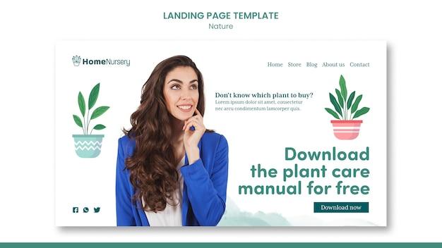Modello di pagina di destinazione per la cura delle piante d'appartamento con la donna