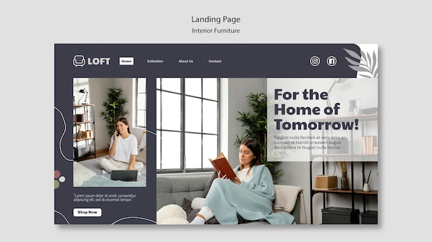 Landing page template for interior design furniture