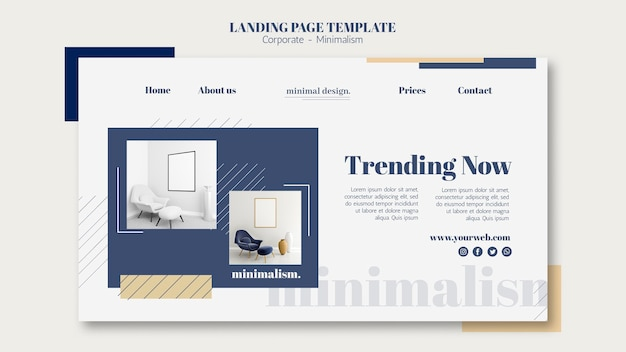 Landing page template for interior design