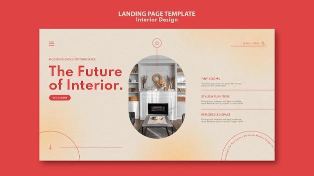 Modello di pagina di destinazione per l'interior design