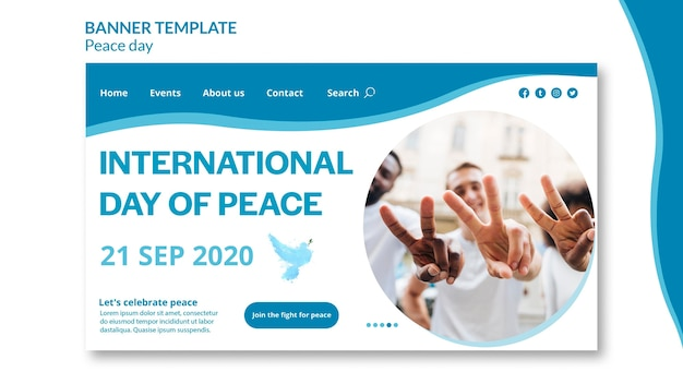 Landing page template for international day of peace