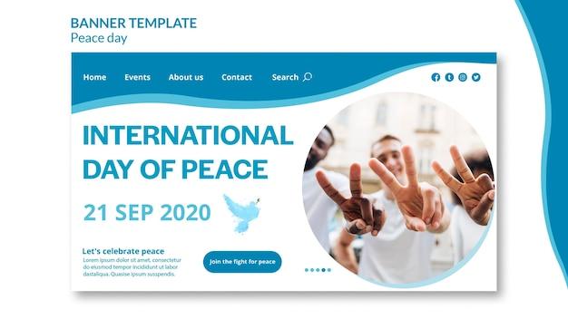Modello di pagina di destinazione per la giornata internazionale della pace