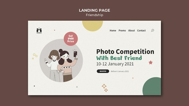 Landing page template for international friendship day with friends