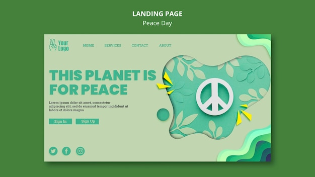 Landing page template for international peace day