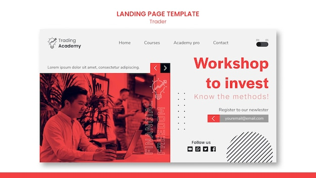 Landing page template for investment trader occupation