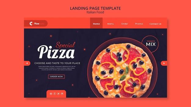 Modello di pagina di destinazione per ristorante di cucina italiana