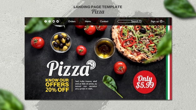 Landing page template for italian pizza restaurant