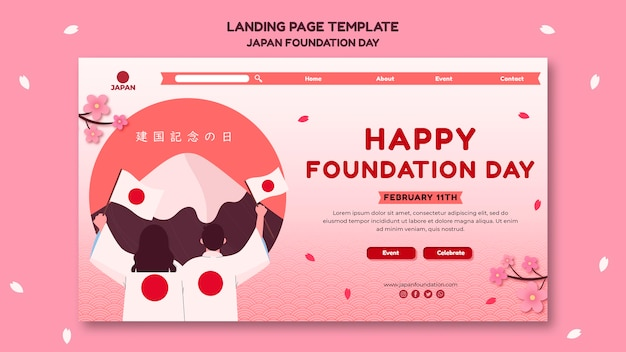 Landing page template for japan foundation day with flowers