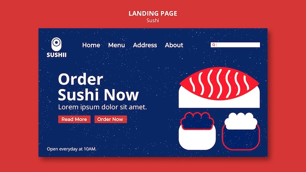 Landing page template for japanese food festival with sushi