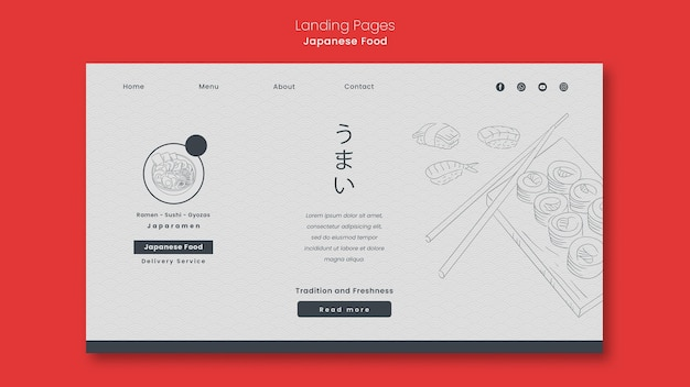 Landing page template for japanese food restaurant