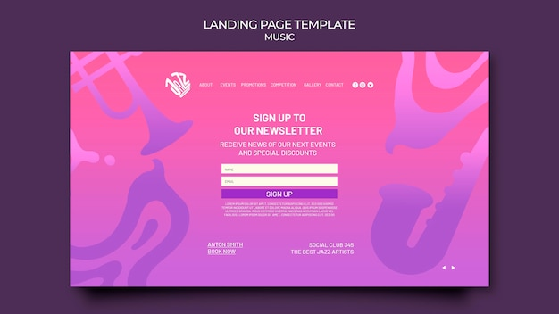 Landing page template for jazz festival and club