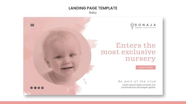 Landing page template for kids daycare