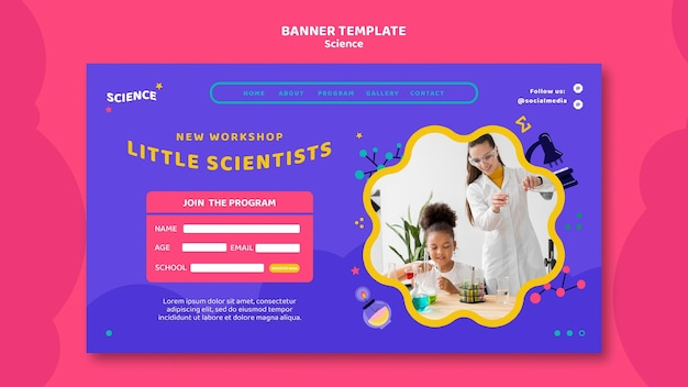Landing page template for kids science