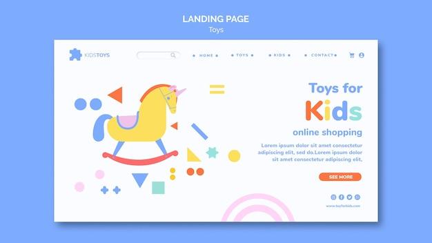 Modello di pagina di destinazione per lo shopping online di giocattoli per bambini