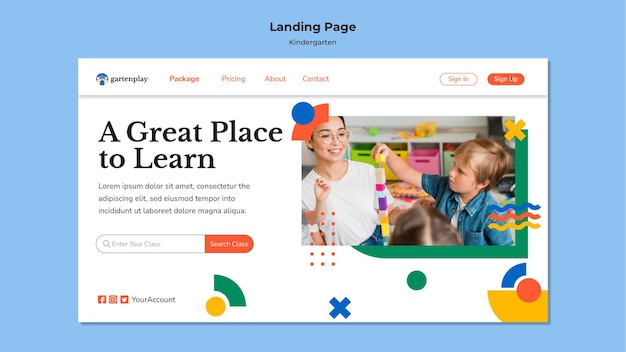 Landing page template for kindergarten with children
