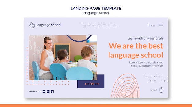 Modello di pagina di destinazione per scuola di lingue