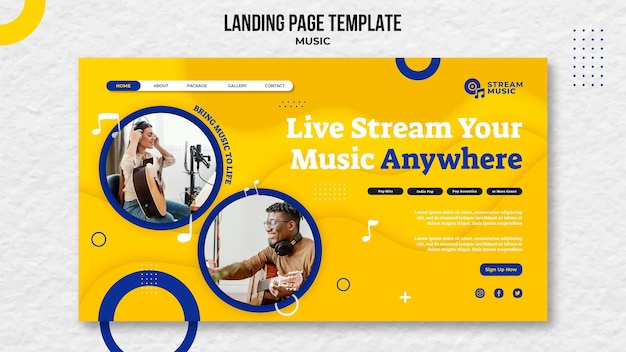Landing page template for live music streaming