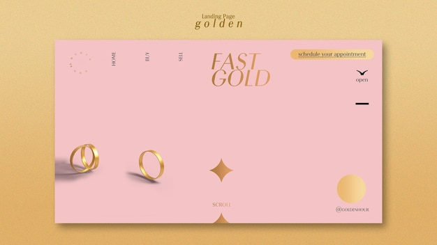 Landing page template for luxurious gold