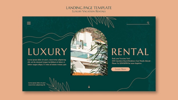 Modello di pagina di destinazione per affitti vacanze di lusso