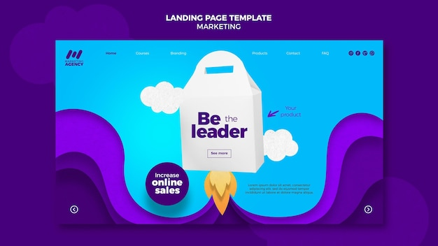Landing page template for marketing company with product
