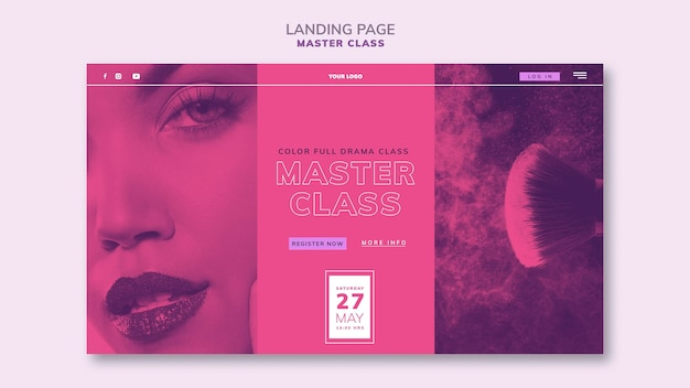 Landing page template for masterclass