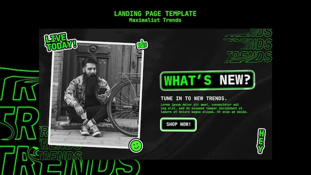 Landing page template for maximalist trend