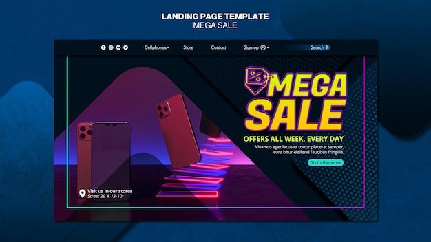 Landing page template for mega sale