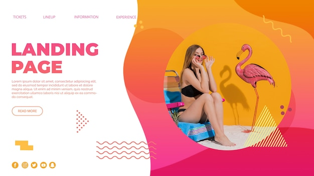 Landing page template in memphis style with summer concept
