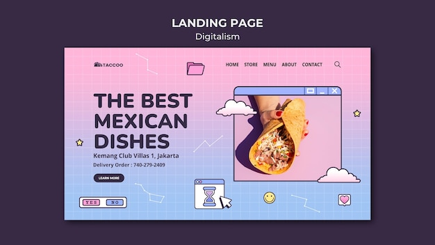 Landing page template for mexican food restaurant