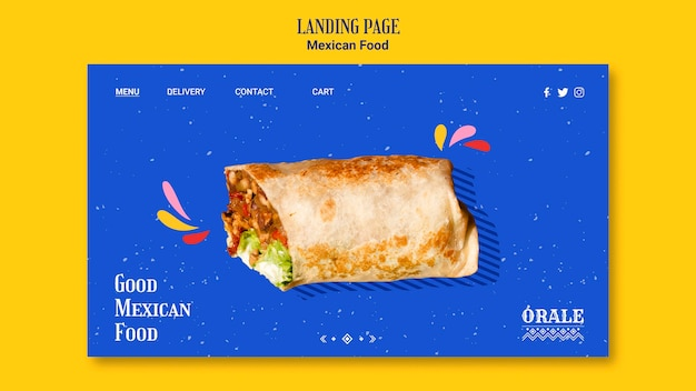 Landing page template mexican food