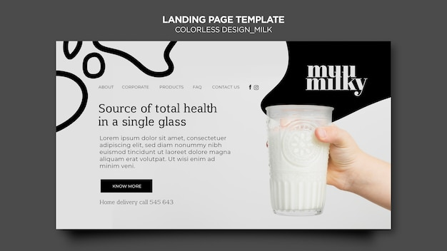 Landing page template for milk with colorless design