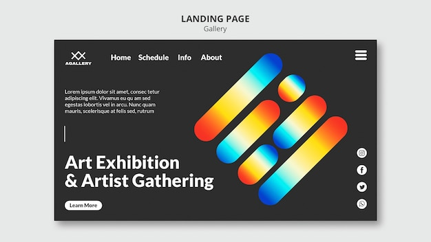Landing page template for modern art exposition