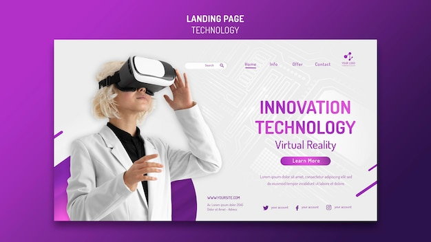 Landing page template for modern technology with virtual reality headset