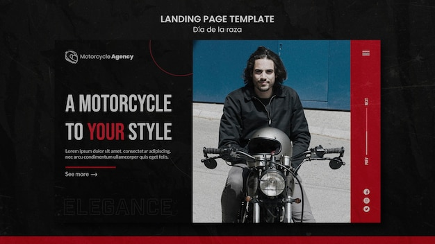 Landing page template for motorcycle agency with male rider