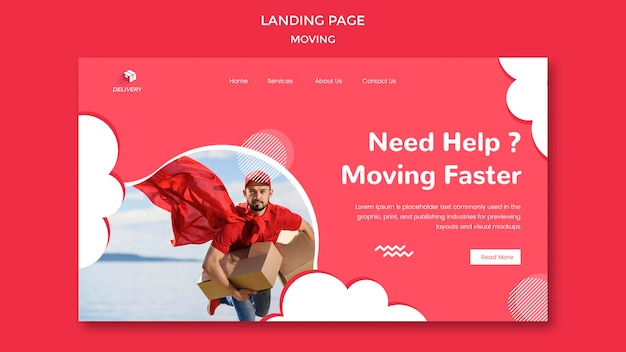 Landing page template for moving company