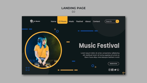 Landing page template for music festival