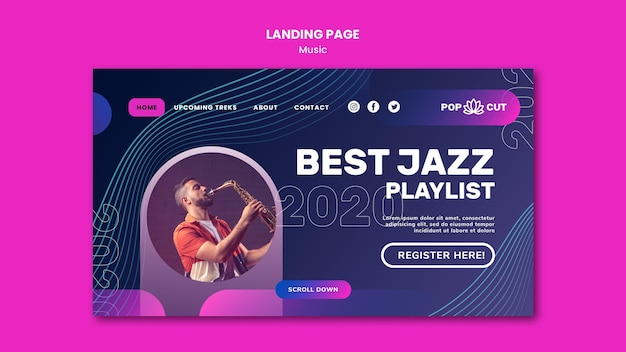 Landing page template for music with male jazz player and saxophone