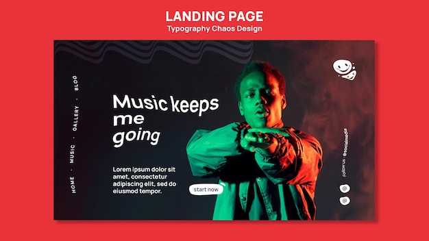 Landing page template for music with man and fog