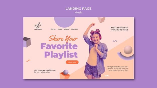 Landing page template for music with woman using headphones and dancing