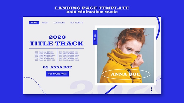 Landing page template for musician