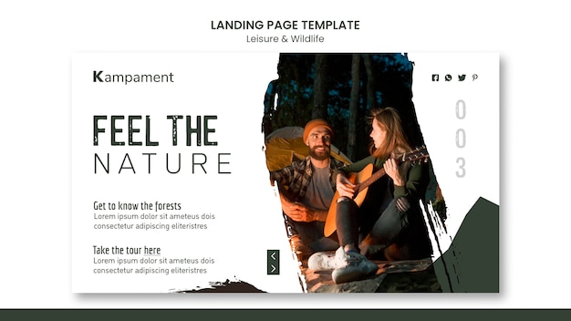 Landing page template for nature exploration and leisure